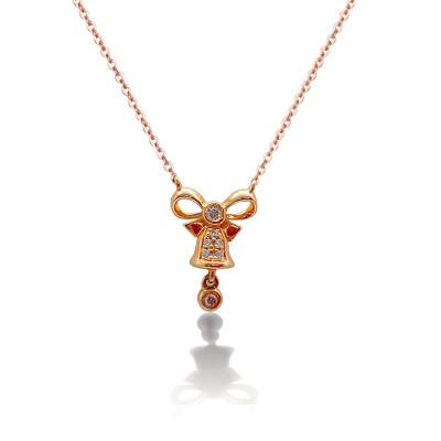 幸福圣诞18K金玫瑰色钻石套链