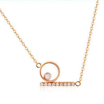 幸福探索者系列AU750金玫瑰色钻石套链-002款式