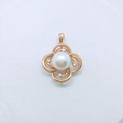 幸福珍惜 18K金玫瑰色钻石珍珠吊坠 潮流韩版花朵 小众设计女款珠宝