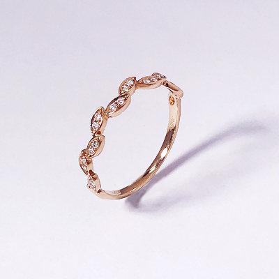 幸福珠宝专柜正品 幸福感悟微幸福粒粒幸福AU750金玫瑰色钻石女款戒指