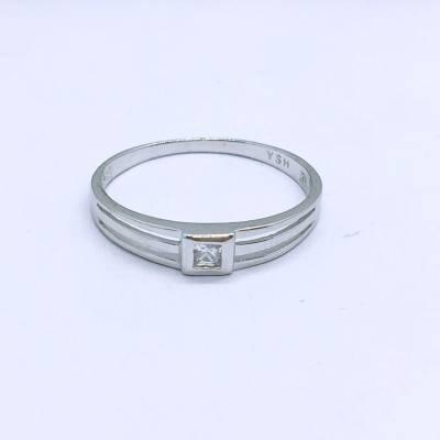 爱圣 S925电白素银女款戒指