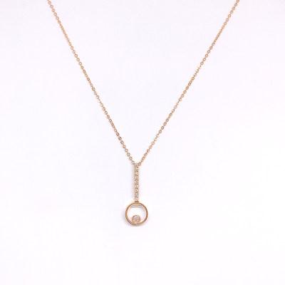 幸福探索者系列18K金玫瑰色钻石套链-004款式