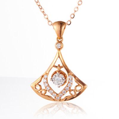 幸福轻舞 AU750金分色玫钻石吊坠 简约气质玫瑰金吊坠生日情人节礼物送女友