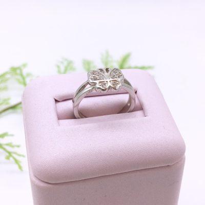 蝴蝶堡-s925银电白立方氧化锆戒指