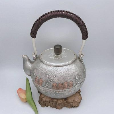 银创道-足银本色檀木茶具-欢聚一堂提梁壶