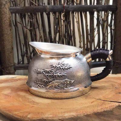 道之赋-足银本色茶具礼品银泡茶壶隔热银盖杯防烫公道杯实用银烧水壶 自用家用银壶 公道杯 送长辈领导朋友礼物