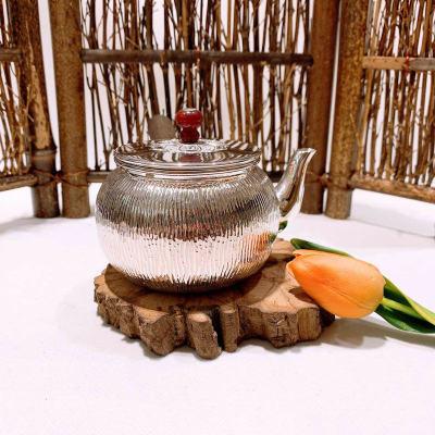 匠义-足银本色玛瑙茶具-树纹端把壶