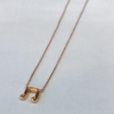 幸福赞歌18K金玫瑰色音乐符号钻石项链