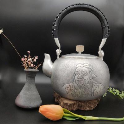 艺魂足银本色檀木茶具-孔子提梁壶