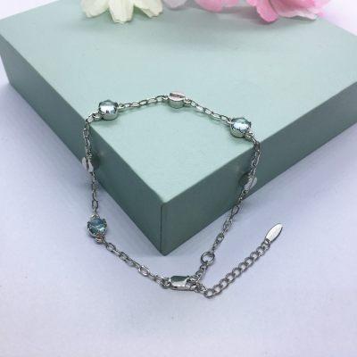 S925银托帕石手链