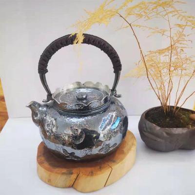 粼光-足银仿古茶具-提梁壶