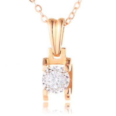 幸福演奏 AU750金分色钻石吊坠 (不带链)正品轻奢精致 节日情人节礼物
