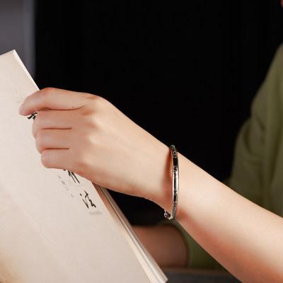 铂工999足银简约银手镯女时尚印花字纯银手镯开口可调节送女友老婆礼物