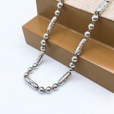 裕泰隆S925银电白圆柱三珠男款项链