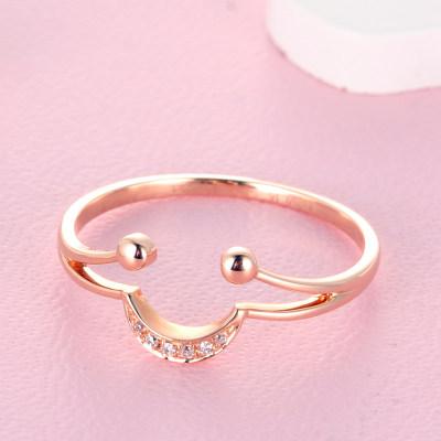 幸福笑脸 18K金玫瑰色钻石镶嵌女款微笑表情戒指 玫瑰金气质女戒