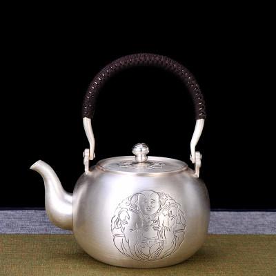 艺魂足银本色茶具-一团和气提梁壶(足银壶钮)