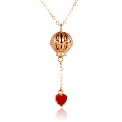 幸福梦想 4D18K玫瑰金钻石套链 浪漫热气球镶钻锁骨链