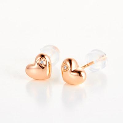 幸福正心 4D18K钻石玫瑰金耳钉新款潮人简约小巧时尚正品保证甜美清新爱心 心形