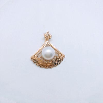 幸福女神 AU750金玫瑰金珍珠吊坠时尚韩版夸张个性高级感18k金吊坠