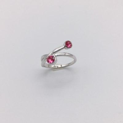摩丹尼S925银电白玻璃戒指