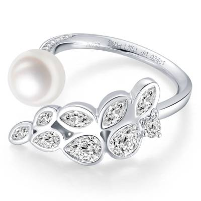 爱情圣事-18k金白色珍珠女戒