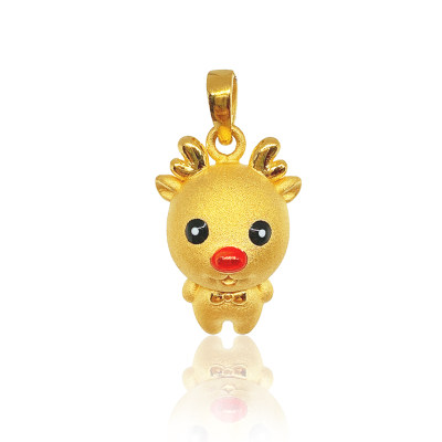 """幸福童谣-3D硬金 一""""鹿""""陪伴 时尚麋鹿吊坠"""