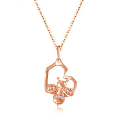 幸福未来AU750金玫瑰色钻石项链套链