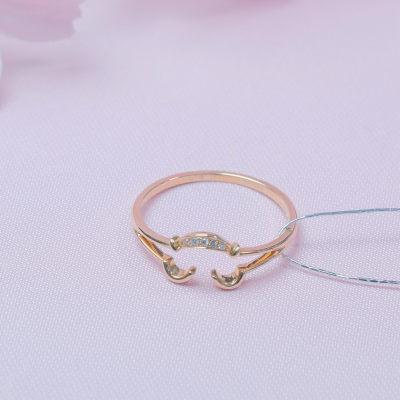爱情如诉AU750金玫瑰色钻石镶嵌女款戒指