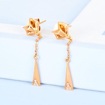 幸福魅力 AU750金玫瑰色素金耳钉流苏长款耳环时尚甜美简约气质女士耳线时尚饰品首饰生日礼物送