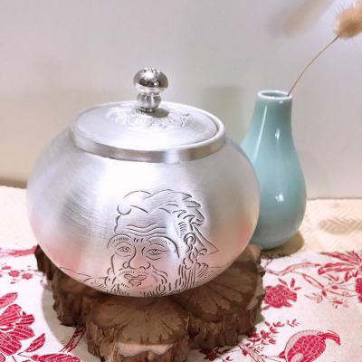 银茶赋-足银本色茶具-孔子茶叶罐
