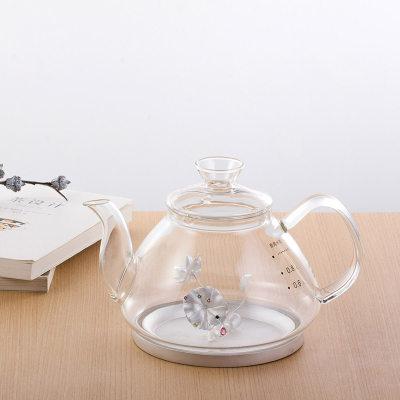 天官赐足银镶碧玺玻璃养生银壶-风荷听雨系列赠电陶炉套装烧水壶观赏壶