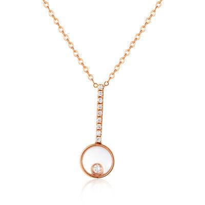 幸福探索者系列AU750金玫瑰色钻石套链-004款式