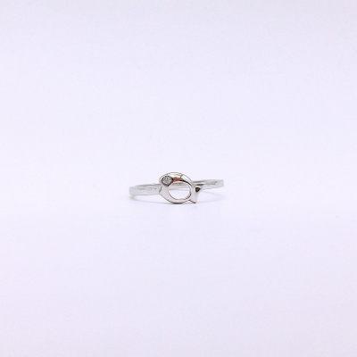中银尚S925银电白合成立方氧化锆戒指