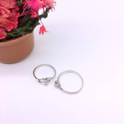 s925银电白锆石戒指