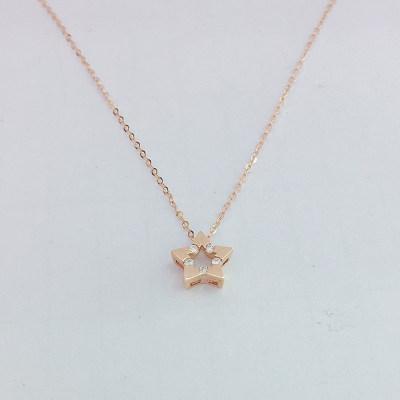 幸福希望-8K金玫瑰色钻石套链