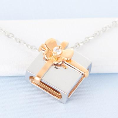 幸福惊喜 AU750K金钻石套链 18K金套链 锁骨链 时尚 夸张礼物盒创意珠宝