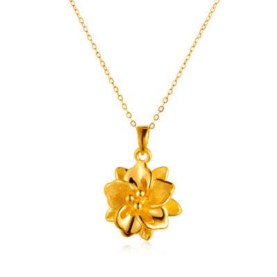 幸福富贵 国色天香3D硬金花朵吊坠吊坠 足金珠宝首饰送老婆送妈妈显气质