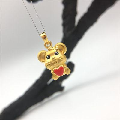 幸福童谣-3D硬金黄金素金滴胶ins风吊坠