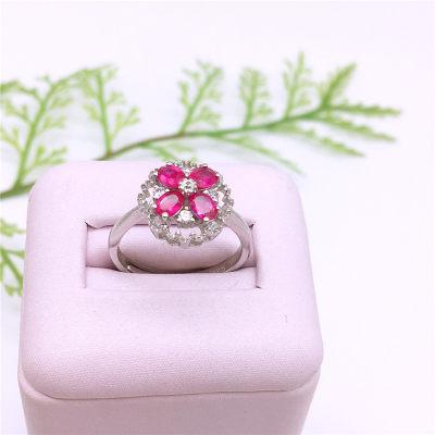 蝴蝶堡-S925银电白合成宝石戒指