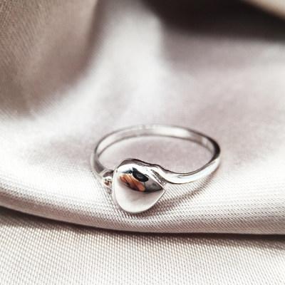 小情歌 S925银电白素银戒指