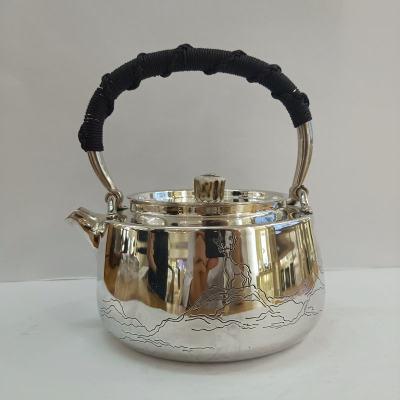 足银本色牛角茶具手工纯银提梁壶纯银烧水壶纯银茶具 鹿