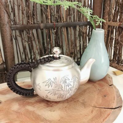 匠义-足银本色茶具-竹泡茶壶