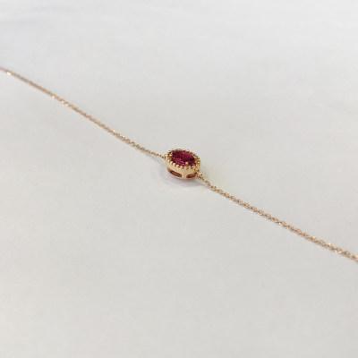 幸福悦己18K金玫瑰色纯正椭圆形红碧玺手链显手白饰品