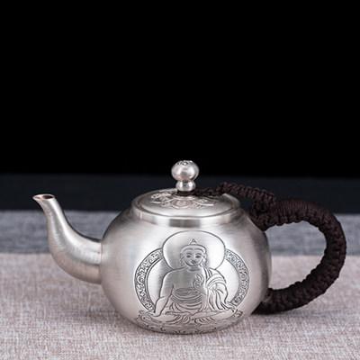 匠义-足银本色茶具-佛泡茶壶 999纯银手工功夫茶具泡茶壶养生小泡壶 手工制作 送长辈 送礼佳品