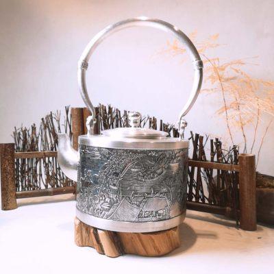 银品王朝足银仿古-清明上河图茶具纯手工烧水银壶商务送礼佳品