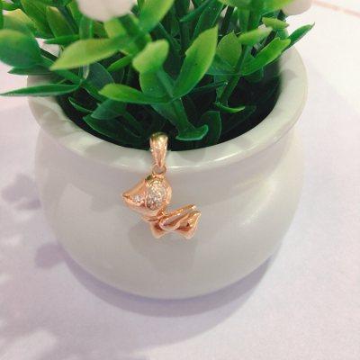幸福小狗—玫瑰金钻石吊坠