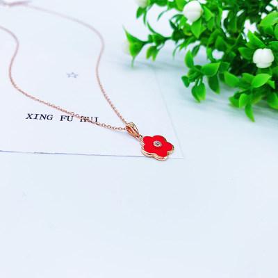 幸福长春花18K玫瑰色合成立方氧化锆套链