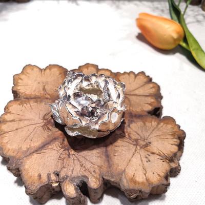 天裕宝福足银本色茶具-富贵花开