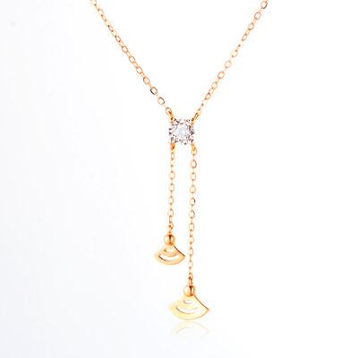 唤醒幸福- AU750金分色钻石镶嵌套链 双流苏时尚Y形锁骨链 气质珠宝潮流时尚