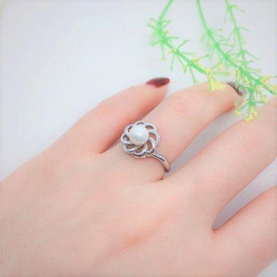 千润珠坊QRZF S925银贝珠戒指